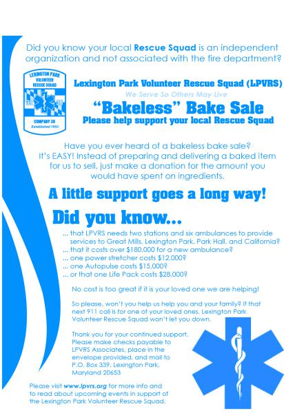 bakeless bake sale fundraiser lexington park volunteer rescue squad
